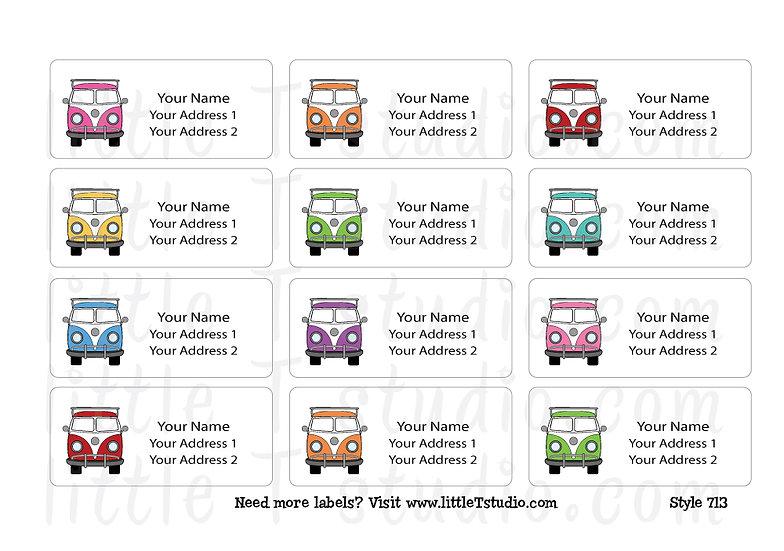 Return Address Labels - Colorful Travel Vans - Style 713