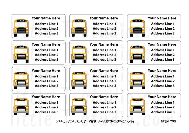 Return Address Labels - School Bus - Style 763