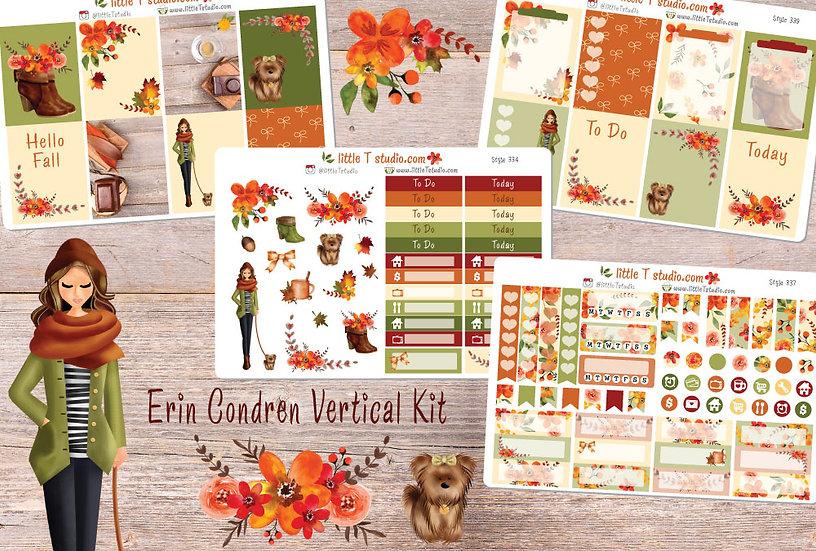 Crisp Morning Erin Condren Vertical Fall Sticker Kit - Light Skin, Brown Hair