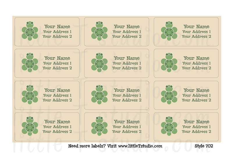 Return Address Labels - Sea Turtles - Style 702