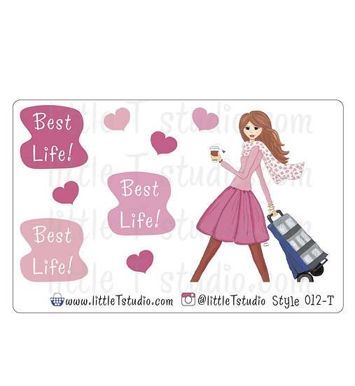 Cart Girl Stickers - Style 012-T