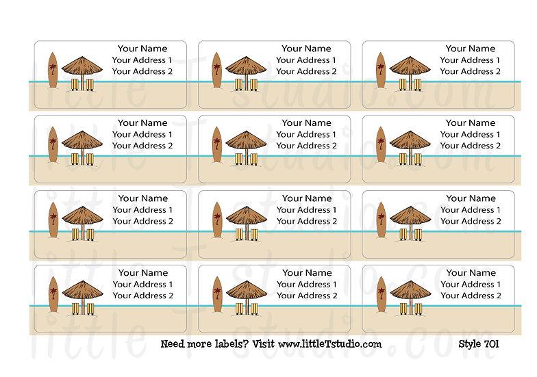 Return Address Labels - Tropical Beach - Style 701
