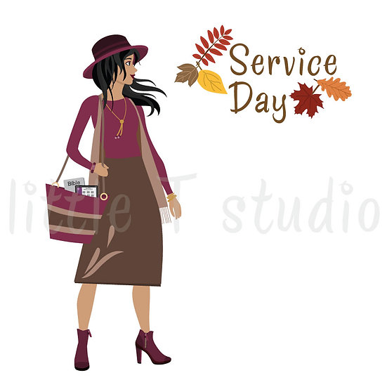 Happy in the Ministry Fall Themed Service Day Stickers Light Brwn Skin-Style 687