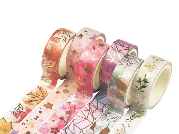 Washi Tape - Gold Foil Florals, Leaves, Geometric Frames
