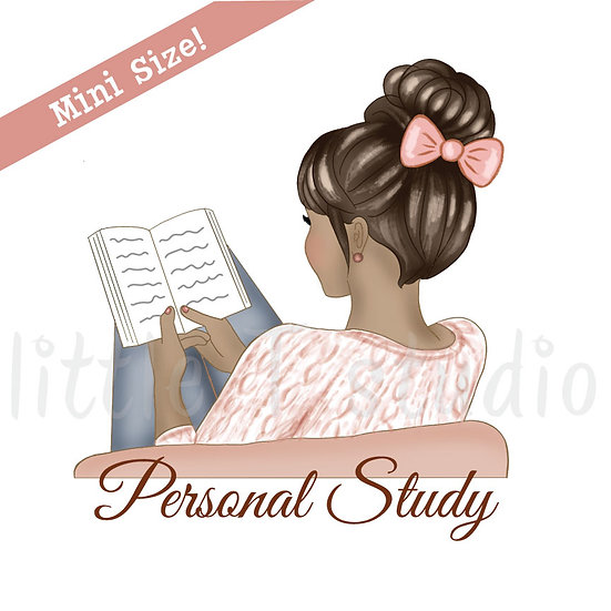 Personal Study Mini Size Stickers - Tan Skin, Dark Hair - Style 428M