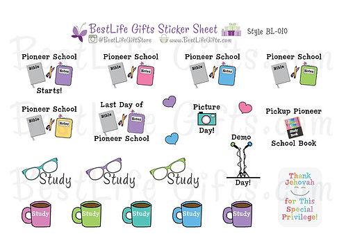 Pioneer School Stickers - Style BL-010