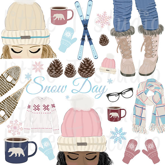WINTER Clipart - Snow Day - Watercolor Clipart - Hand-Painted