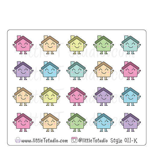 Kawaii Stickers - House - Mortgage, Rent, Repair - Style 011-K
