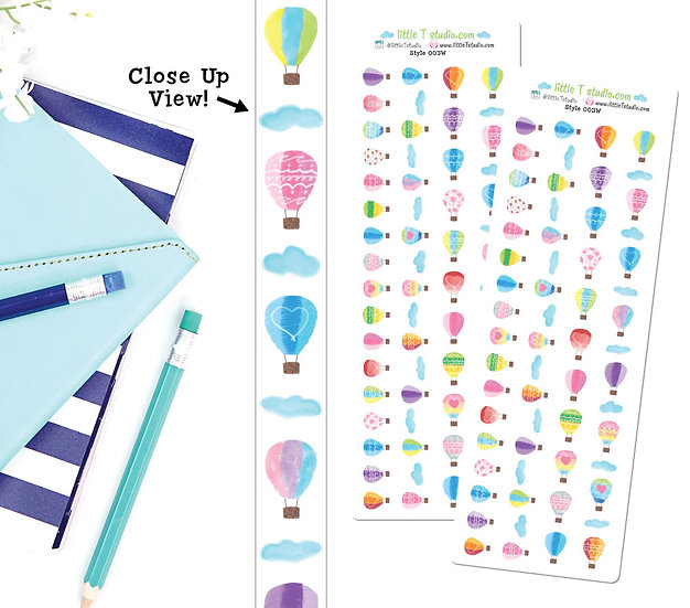 Hot Air Balloons 15mm Washi Tape Set - Style 003W
