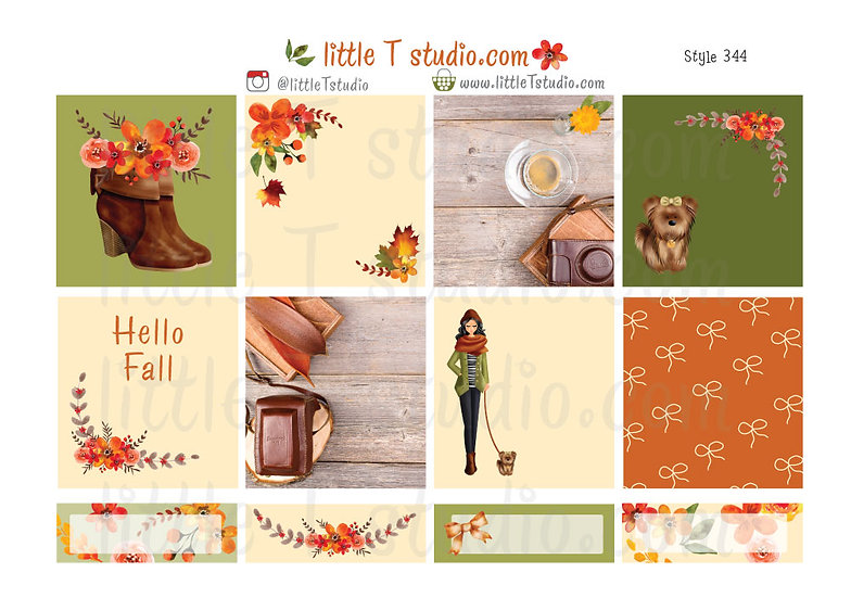 Crisp Morning Erin Condren Horizontal Fall Stickers - Light Skin, Black Hair