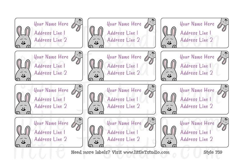 Return Address Labels - Sweet Grey Rabbits - Style 759