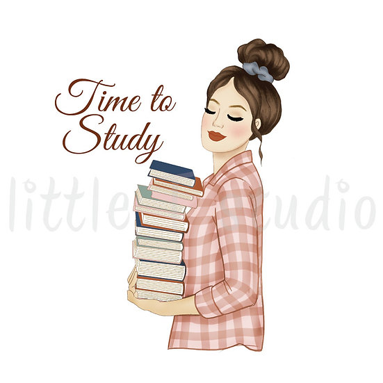 Time to Study Fashion Girl Stickers - Light Skin, Dark Hair - Style 1096