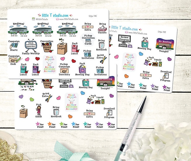 Assembly & Convention Annual Sticker Set - Style 041 & Two Sheets of Style 092
