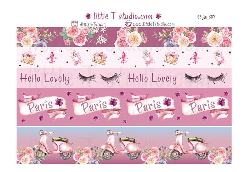 Lovely Paris - 15mm & 30mm Washi Tape Set - Style 357