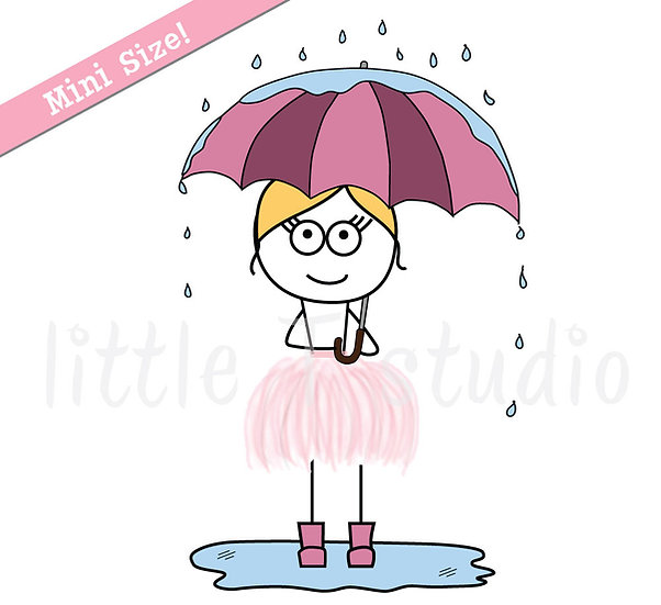 Busy Ballerina Mini Size - Rainy/Sunny Day Weather or Mood Stickers - Style 207M