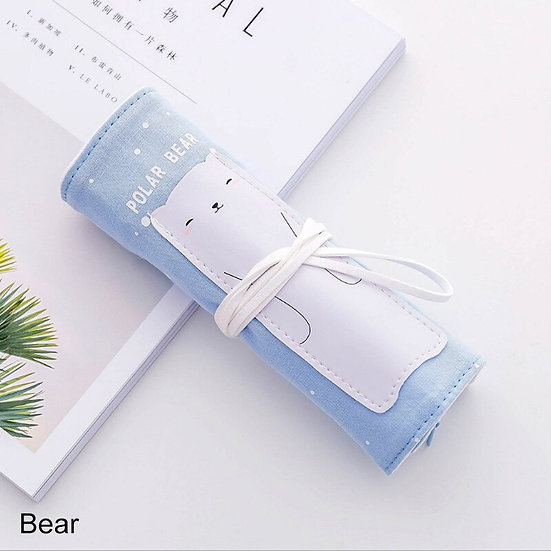 Adorable Animals Roll up Pencil Case - Cat, Bear or Crocodile!