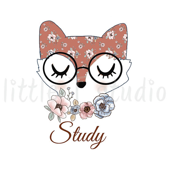 Floral Fox Study Stickers - Style 1094