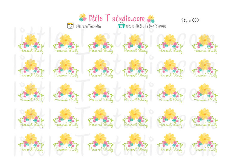 Personal Study Floral Script Reminder Stickers - Style 600