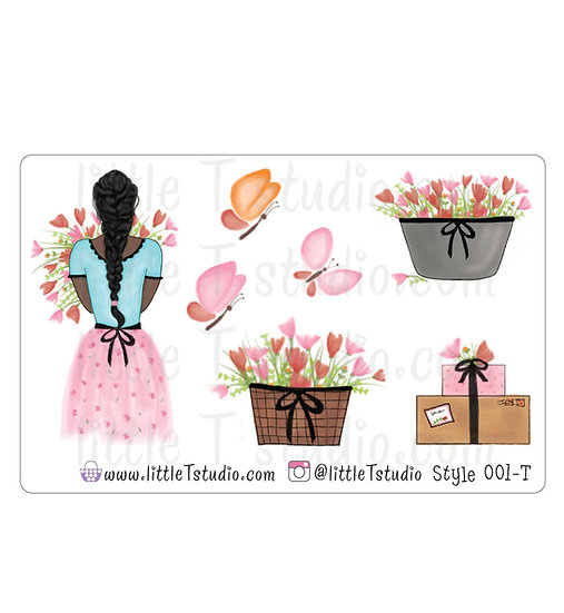 Spring Floral Girl Stickers - Style 001-T