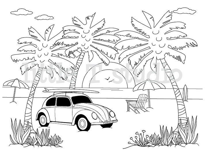 Beach Bug Coloring Page