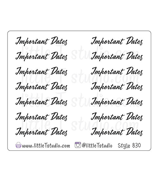 Important Dates Script Stickers - Style 830