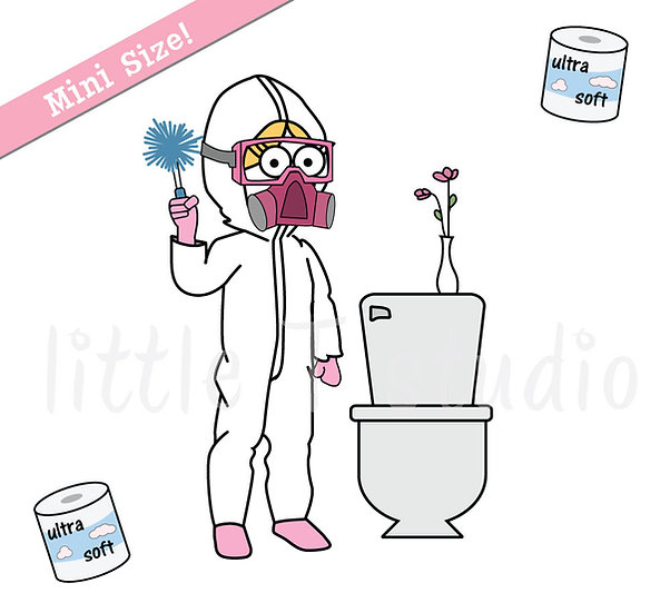 Busy Ballerina Mini Size - Clean Bathroom Reminder Stickers - Style 237M
