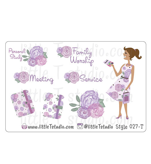 Field Service Girl Stickers - Purple Rose Floral - Style 027-T