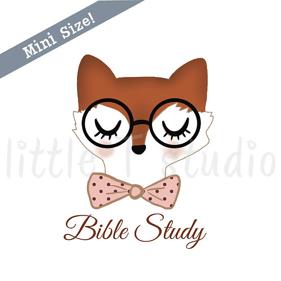 Bible Study Fox with Bow Tie Mini Size Stickers - Style 433M