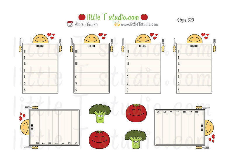 Joys of Life Meal Planning Weekly Menu Stickers - Style 523