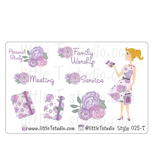 Field Service Girl Stickers - Purple Rose Floral - Style 025-T