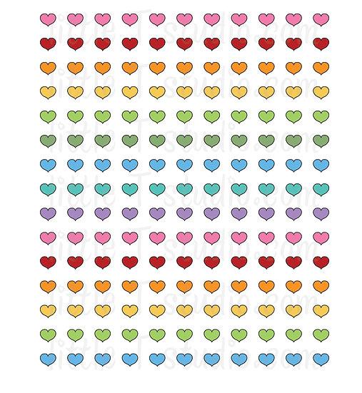 Original Heart Colors Mini Size Stickers - Style 151M