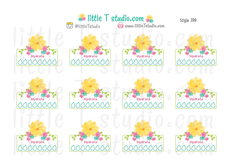 Hydrate Floral Checklist Reminder Stickers - Style 199