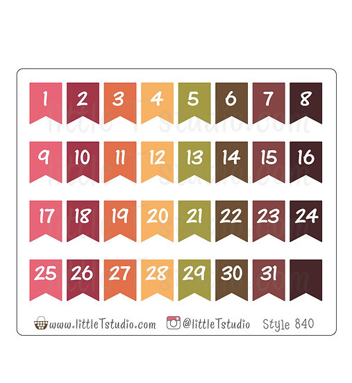 Small Date Flag Stickers - Fall Colors - Style 840