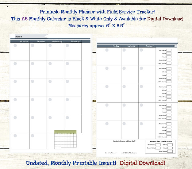 A5 Monthly Calendar with Field Service Tracker PDF - Slate