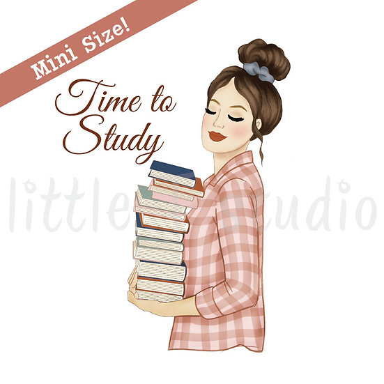 Time to Study Fashion Girl Stickers - Light Skin, Dark Hair - Style 439M