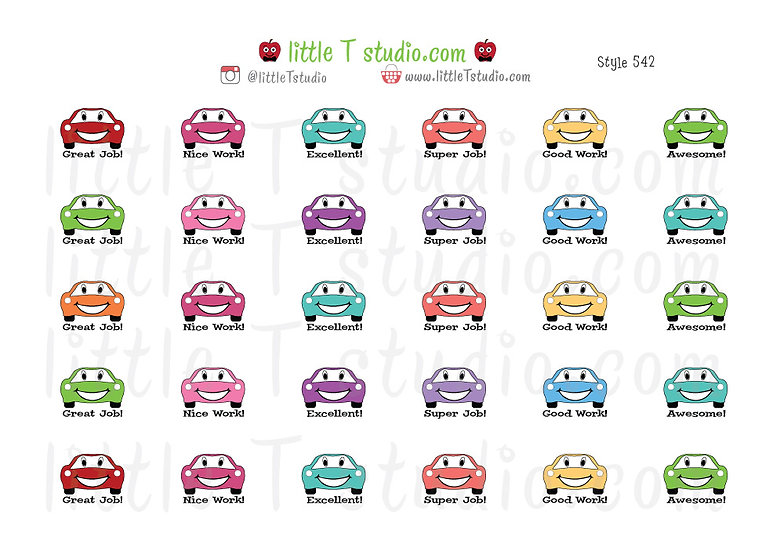 Reward Stickers - Happy Cars - Style 542