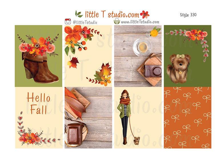 Crisp Morning Erin Condren Vertical Fall Sticker Sheet - Light Skin, Brown Hair