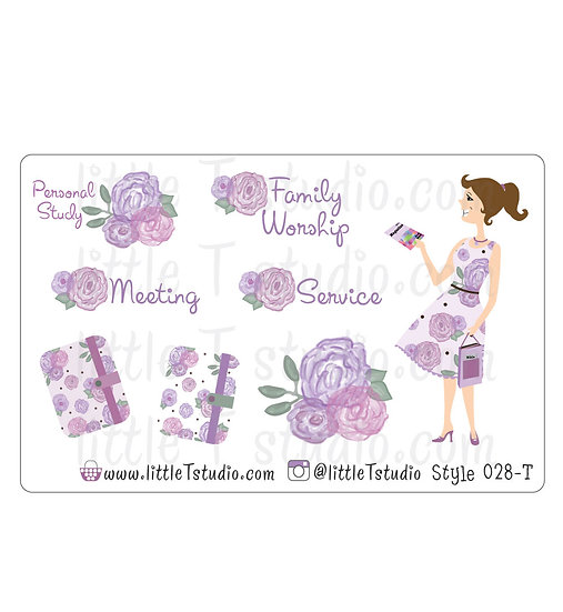 Field Service Girl Stickers - Purple Rose Floral - Style 028-T