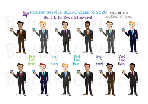 Pioneer Service School Class of 2020 Best Life Ever Stickers - Style BL-006