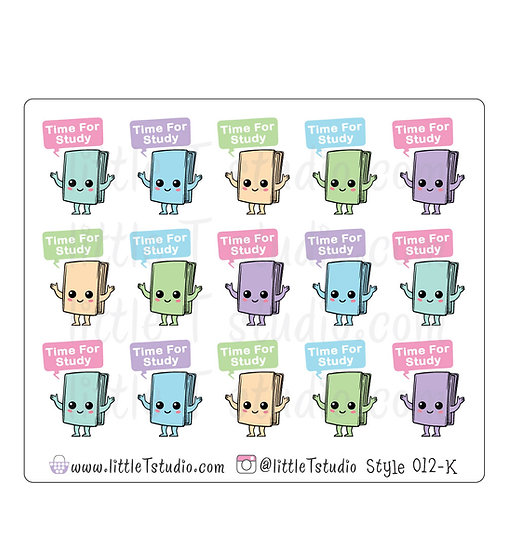Kawaii Stickers - Time for Study - Style 012-K