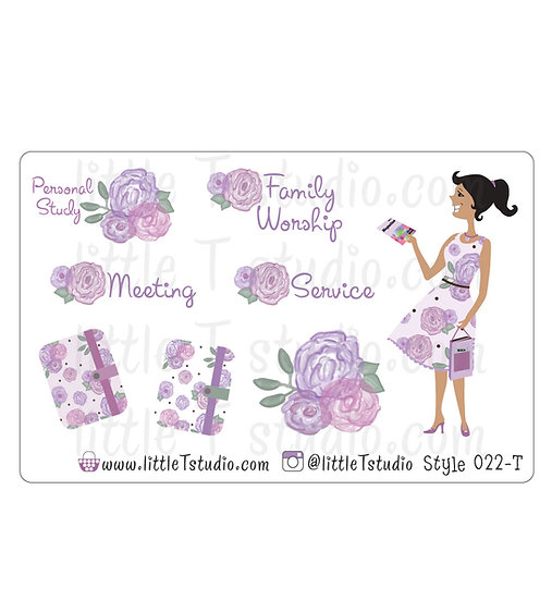 Field Service Girl Stickers - Purple Rose Floral - Style 022-T