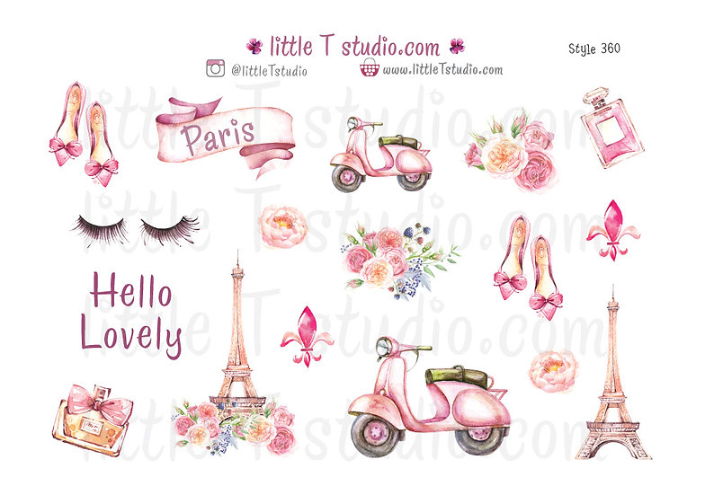 Lovely Paris - Decorative Sticker Sheet - Style 360