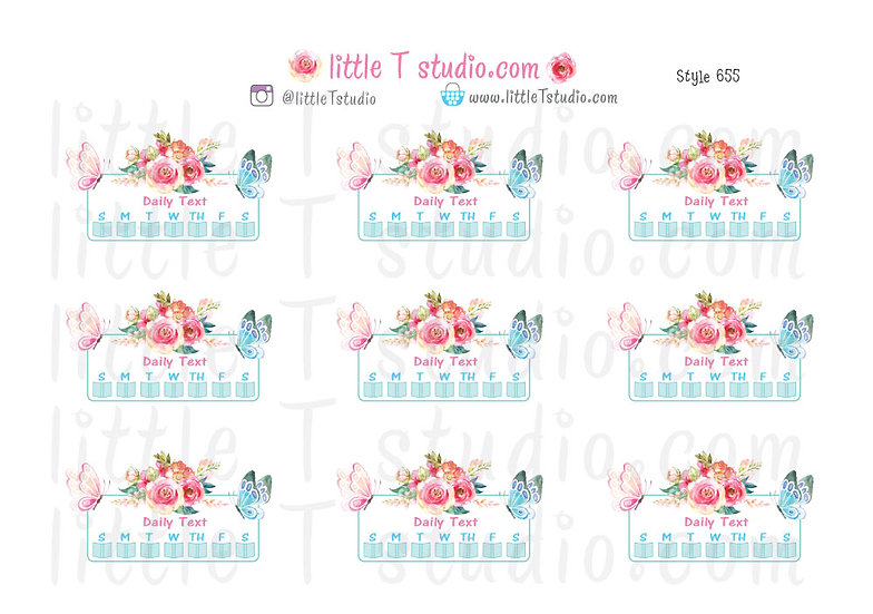 Read Daily Text Checklist Stickers Spring Butterfly - Style 655