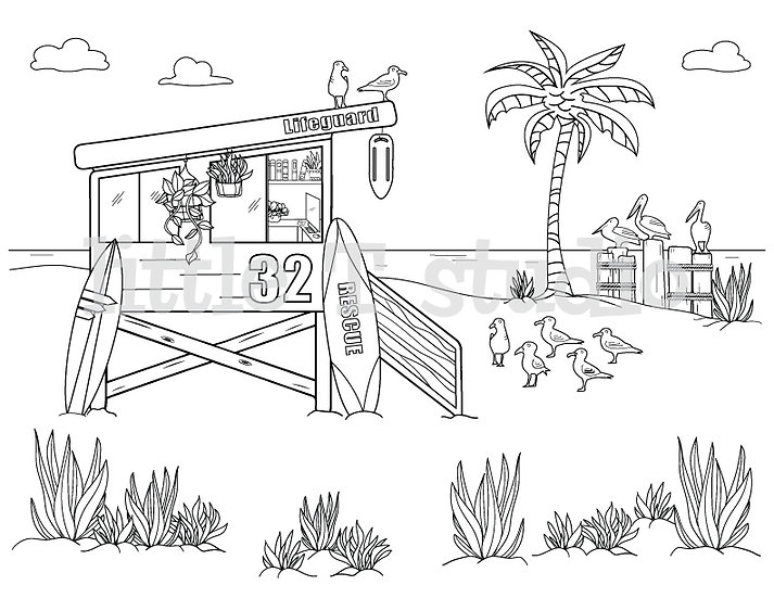 Beach Life Guard Tower Coloring Page