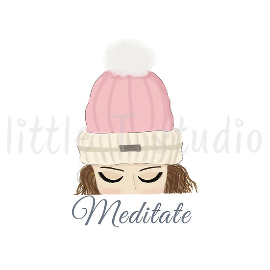 Meditate Stickers - Brown Hair - Snow Day - Style 1128 or 320M