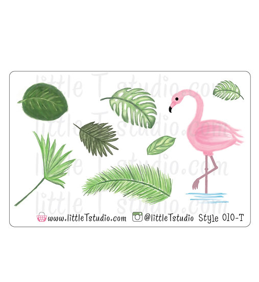 Flamingo and Palm Branches Stickers - Style 010-T