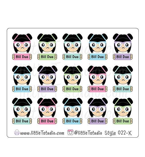 Kawaii Stickers - Super Sad Bill Due - Style 022-K