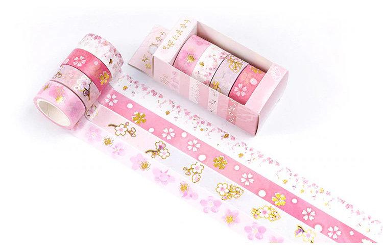 Washi Tape - Gold Foil Sakura Cherry Blossom - Set of 4 Rolls