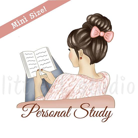 Personal Study Mini Size Stickers - Light Skin, Dark Hair - Style 427M