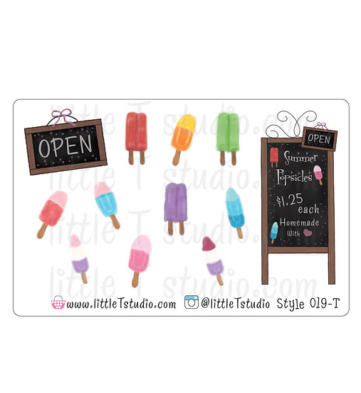 Summer Popsicle Stickers - Style 019-T